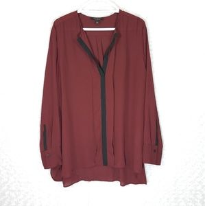 Banana Republic Burgundy Sheer Blouse